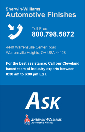 Contact Sherwin-Williams Automotive Finishes toll free or mail to 4440 Warrensville Center Road, Warrensville Hts Ohio 44128