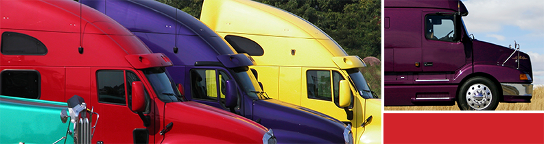 Teal, red, purple and yellow semi trucks lined up with a close up of a pruple semi truck cab