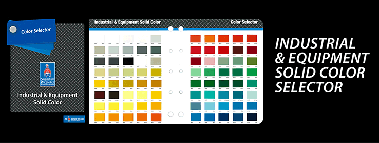 The Industrial and Equipment Solid Color Selector contains 80 solid chips to support sales of the AIC™ and Dimension™ paint systems.  This is an excellent, cost effective tool for customers looking for a good selection of color.