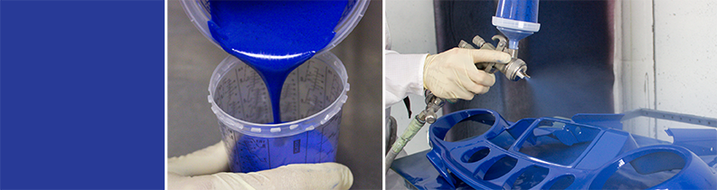 Blue square, pouring blue paint into a Sherwin measuring cup and spraying a part blue