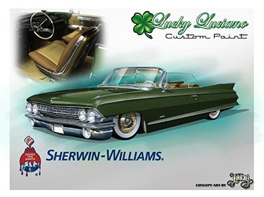 1961 Cadillac convertible by Lucky Luciano Custom Paint, LLC with Sherwin-Automotive Paint