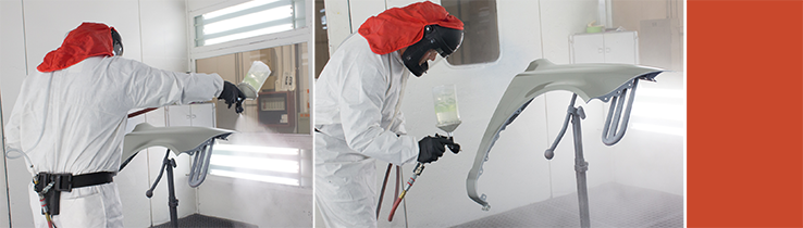 Two images from different angles of a person in a white suit with an orange head cover spraying a gray panel