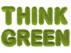 Think Green grass text image