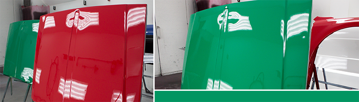 High gloss red and green hoods