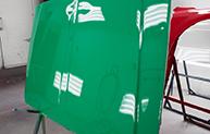 High gloss green hood
